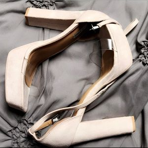 Brand new suede and clear platforms